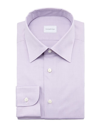 Micro-Check Dress Shirt, Lavender