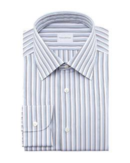 Ermenegildo Zegna Striped Dress Shirt, Blue/Gray
