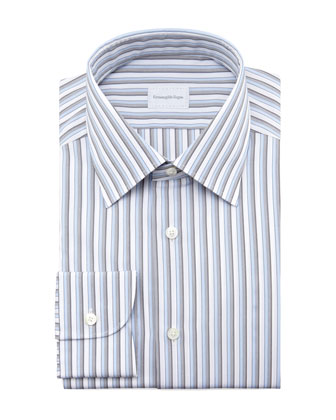 Striped Dress Shirt, Blue/Gray