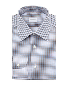 Ermenegildo Zegna Check Dress Shirt, Blue/Brown
