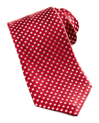 Dot & Floral Silk Tie, Red