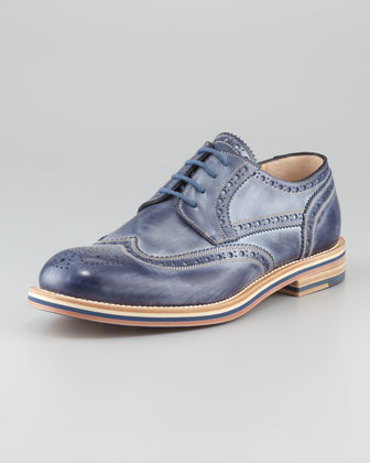 Perforated Lace-Up, Navy