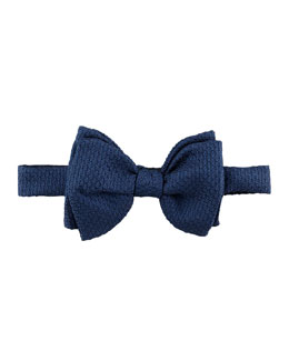 Lanvin Grenadine Textured Silk Bow Tie, Navy