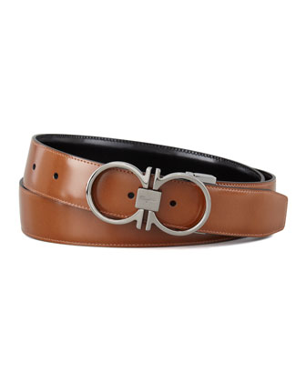 Reversible Gancini-Embossed Belt, Brown