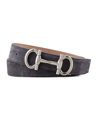 Suede Double Gancini Belt, Gray