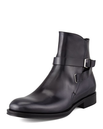 Saverio Buckled Strap Boot, Black