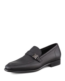 Salvatore Ferragamo Svezia Pebbled Leather Loafer, Black