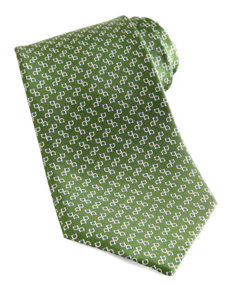 Two-Gancini Silk Tie, Green