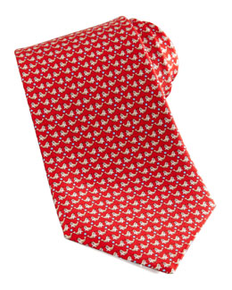 Salvatore Ferragamo Seal-Print Silk Tie, Red