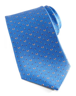 Salvatore Ferragamo Flowers Silk Tie, Blue