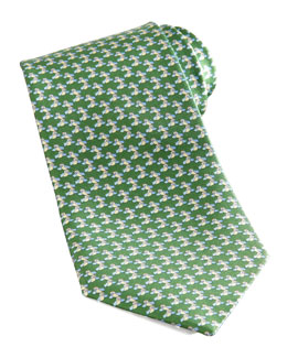 Salvatore Ferragamo Bird Silk Tie, Green