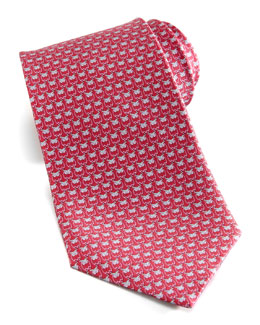 Salvatore Ferragamo Owl-Print Silk Tie, Red