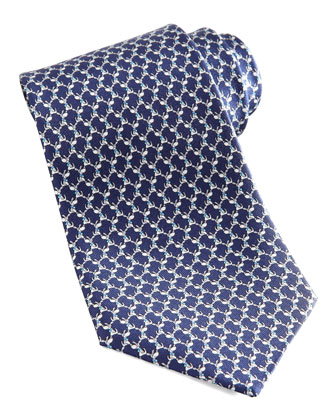 Dog Silk Tie, Navy