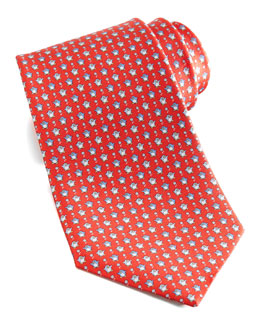 Salvatore Ferragamo Penguins Silk Tie, Red