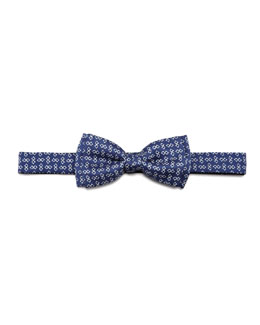 Salvatore Ferragamo Two-Gancini Bow Tie, Navy