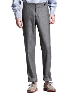 Brunello Cucinelli Flannel Six-Pocket Pants, Otter