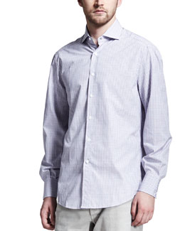 Brunello Cucinelli Check Spread-Collar Shirt, Purple/Blue