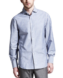 Brunello Cucinelli Striped Spread-Collar Shirt, Blue/Brown