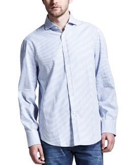 Brunello Cucinelli Striped Sport Shirt, Blue/White
