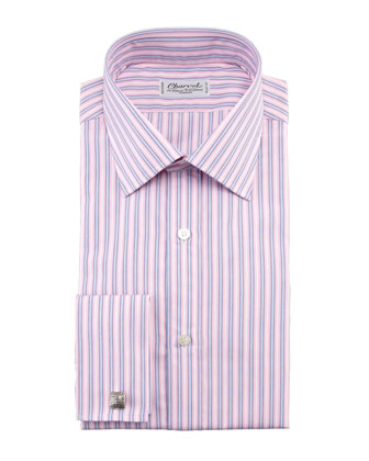 Striped French-Cuff Dress Shirt, Pink/Blue