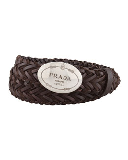 Prada Woven Leather Logo Belt, Dark Brown