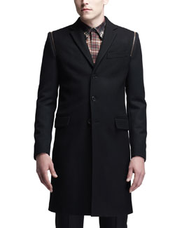 Givenchy Three-Button Overcoat, Black