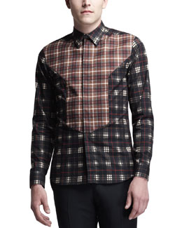 Givenchy Mixed-Plaid Bib-Front Shirt, Multi