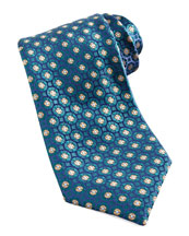 Charvet Medallion Silk Tie, Blue/Yellow