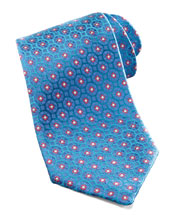 Charvet Medallion Silk Tie, Aqua/Purple
