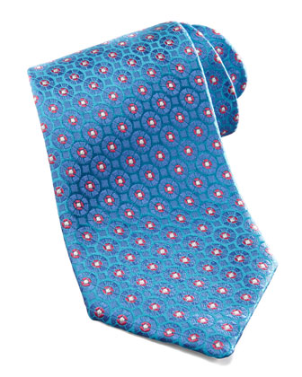 Medallion Silk Tie, Aqua/Purple