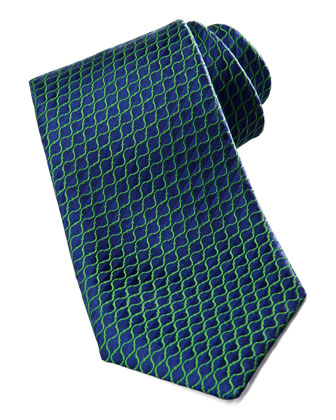 Diagonal-Neat Silk Tie, Blue/Green
