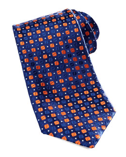 Charvet Bean-Pattern Silk Tie, Blue/Orange