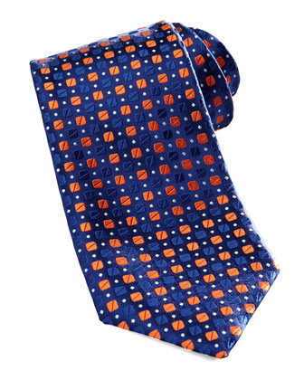 Bean-Pattern Silk Tie, Blue/Orange