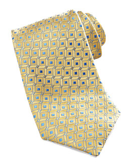 Charvet Geometric Dot Silk Tie, Yellow/Blue