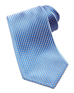 Charvet Neat Silk Tie, Blue/Orange