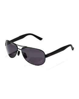 Gucci Metal Polarized Navigator Sunglasses, Black