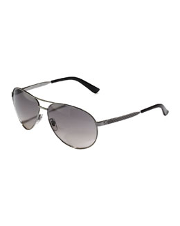 Gucci Metal Aviator Sunglasses, Ruthenium