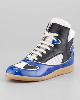 Patent Leather Trimmed High Top Sneaker, Multi