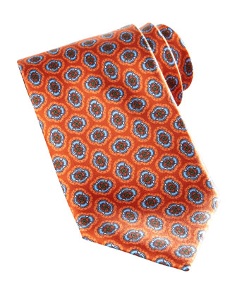Large Floral-Medallion Silk Tie, Orange