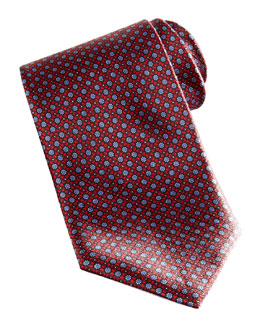 Brioni Floral Pattern Silk Tie, Red