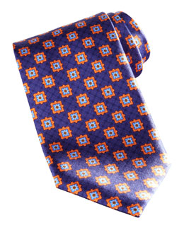 Brioni Square Medallion Silk Tie, Navy/Orange