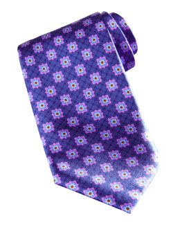 Brioni Square Medallion Silk Tie, Blue/Purple