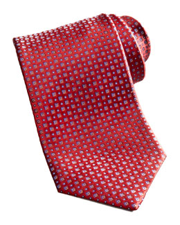 Brioni Square Neat Silk Tie, Red