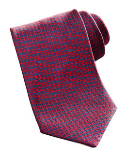 Brioni Geometric Square Silk Tie, Navy