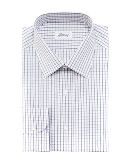 Brioni Check Dress Shirt, Gray/White