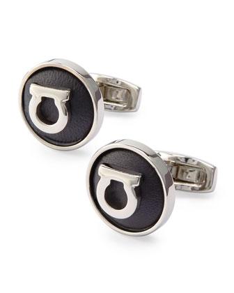 Gancini Leather Gancini Cuff Links, Black/Silvertone