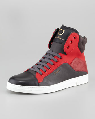 Stephen Two-Tone Hi-Top Sneaker, Red/Burgundy