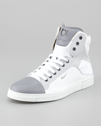 Stephen Leather High-Top Sneaker, White/Gray