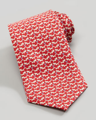 Fox-Print Silk Tie, Red