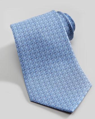 Gancini Bit Grid Silk Tie, Blue